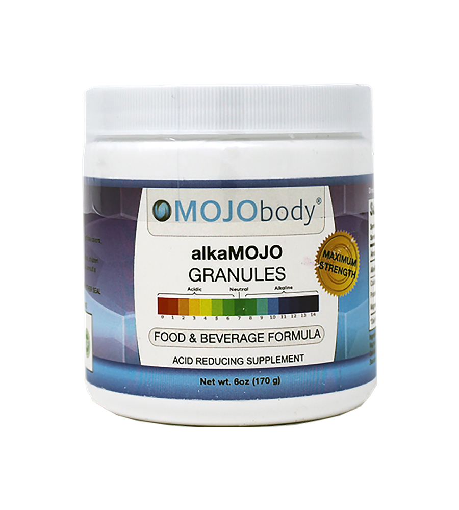 alkaMOJO Granules 6oz. Tub REDUCES ACIDS in Food and Beverages. When Added to Foods and Beverages at the Recommended Dosage, they Reduce 90% of Strong Organic Acids