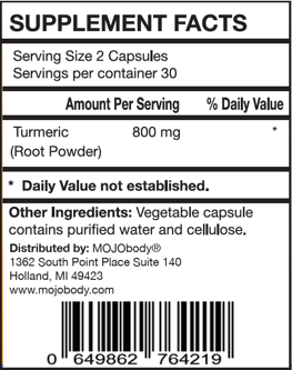 Turmeric Root Powder, Natural Anti- Inflammatory, 800 mg per serving, 60 capsules, Curcumin is a Natural Anti-Inflammatory Compound