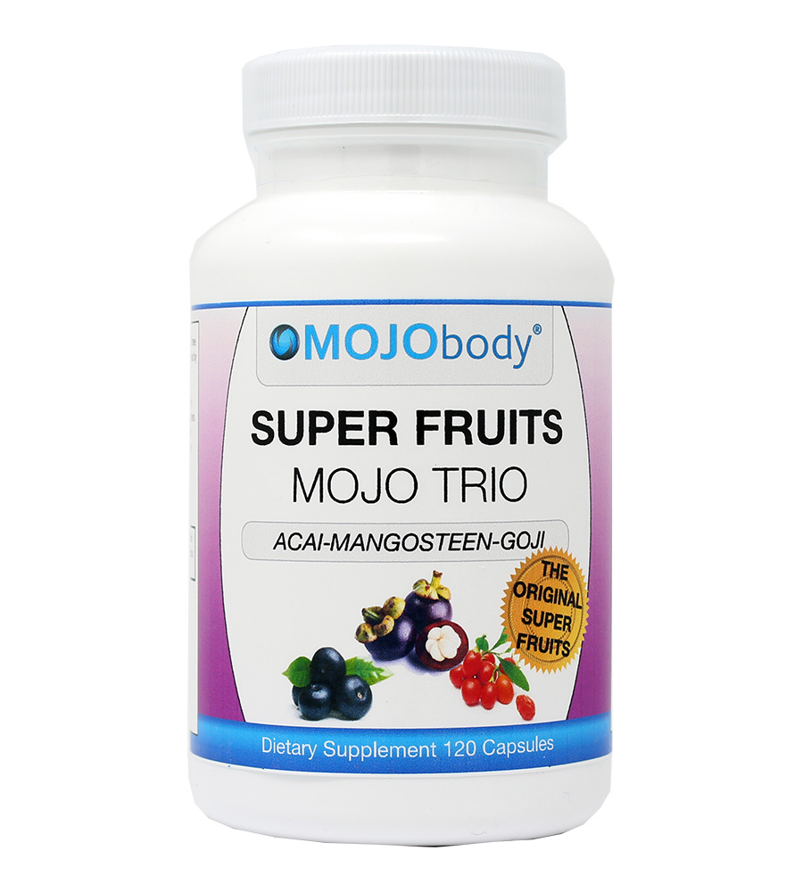 Super Fruits MOJO TRIO 120 Capsules, Acai Berry, Mangosteen and Goji Berry are the 3 Original Super Fruits Recognized by Health Professionals Worldwide for Their Amazing Health Benefits