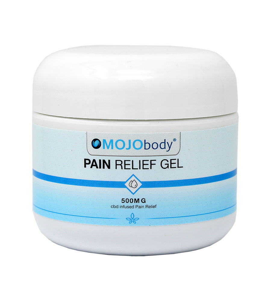 Broad Spectrum CBD Pain Relief Gel 500mg 2oz. Jar, Long-lasting, fast relief from minor aches and pains from sore muscles and joints.