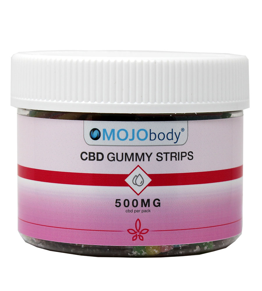 CBD Gummy Strips 500mg 25ct. Canister, Each batch is third-party tested to ensure 100% THC free non-psychoactive CBD in each Gummy Strip